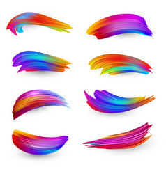 bright gradient paint brush strokes set vector image