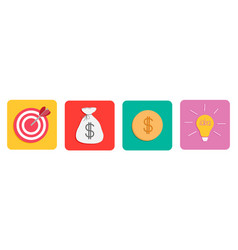 business icon set line target money bag gold coin vector image