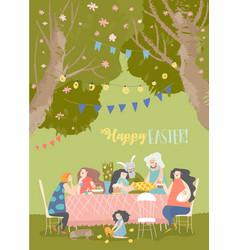 cartoon happy family having easter dinner in vector image