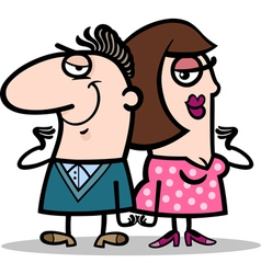 cheerful man and woman couple cartoon vector image