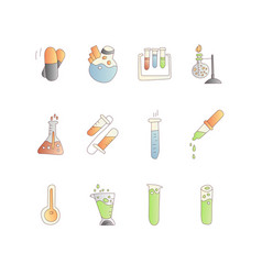 chemical and physical test tubes set icons in vector image