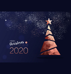 christmas and new year 2020 copper pine tree card vector image