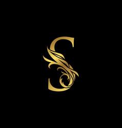 Classy elegant gold s letter floral logo vintage vector