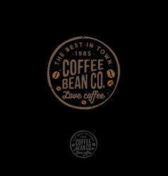coffee bean logo cafe emblem letters stamp vector image