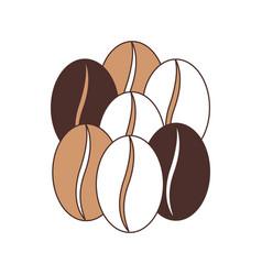 Coffee beans set of seven grains silhouette color vector