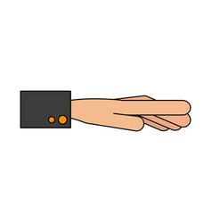 Color graphic outstretched hand with sleeve vector