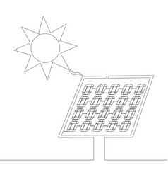 continuous one line drawn solar panel concept vector image
