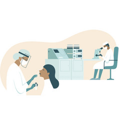 coronavirus covid19-19 diagnostics in lab vector image