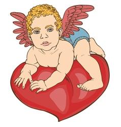 Cupid baby heart color vector