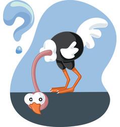 Curious ostrich looking under ground cartoon vector