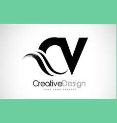 Cv c v creative brush black letters design with vector