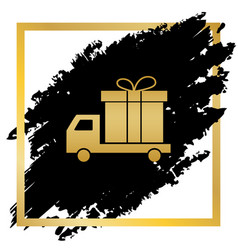 Delivery gift sign golden icon at black vector