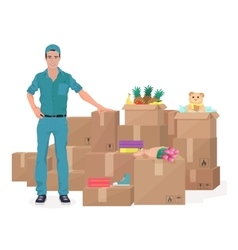 Delivery move service man near craft boxes cargo vector