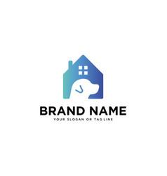 Dog and home logo design vector
