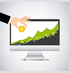 economy growth desktop computer technology icon vector image