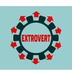 Extrovert character Psychlogy metaphor vector