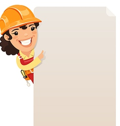 Female builder looking at blank poster vector