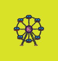 Ferris wheel icon in hatching style vector
