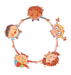 five kids joining hands to form a circle vector image