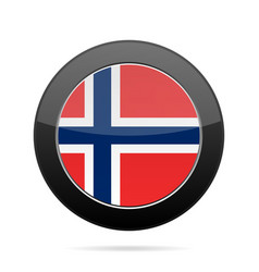 flag of norway shiny black round button vector image