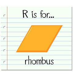 Flashcard letter R is for rhombus vector