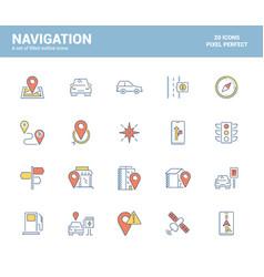 flat line filled icons design-navigation vector image