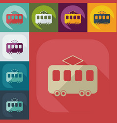 Flat modern design with shadow icon tram vector