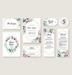 floral wedding invitation card rose and greenery vector image
