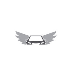 Flying car design wings automobile icon symbol on vector