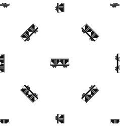 Freight railroad car pattern seamless black vector