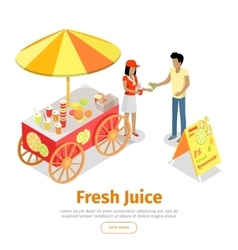 Fresh Juice Conceptual Isometric Web Banner vector