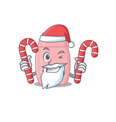 Friendly baby cream dressed in santa cartoon vector