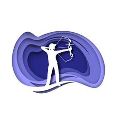 girl archer silhouette athlete shooting arrow vector image