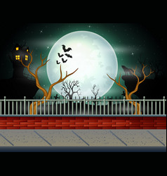Halloween background with full moon background vector