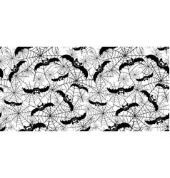 halloween bats ans spiderweb repeat pattern vector image