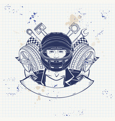 hand drawn sketch racer man vector image