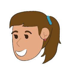 Happy smiling woman with hair in ponytail cartoo vector
