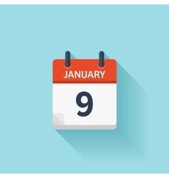 January 9 flat daily calendar icon Date vector