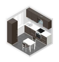 Kitchen icometric icon set vector