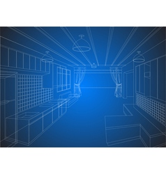 Kitchen wireframe on a blue background vector image