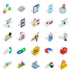 Local server icons set isometric style vector