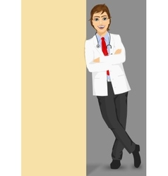 Male doctor leaning against a blank board vector
