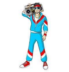 man in cartoon 80s-90s pop-art comic style vector image