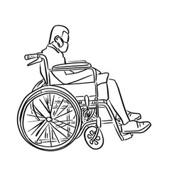 man on wheelchair sketch doodle vector image