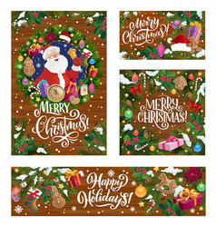 merry christmas winter holiday santa gifts vector image