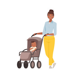 Mom with bain pram character vector
