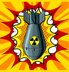 nuclear atomic bomb pop art style vector image