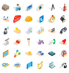 one work icons set isometric style vector image