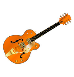Orange country and western guitar vector