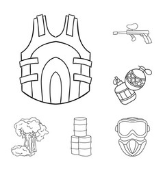 Paintball team game outline icons in set vector